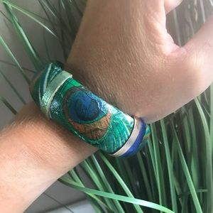 Upcycled Wooden Bangle Leather Peacocks